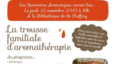 Les Rencontres Aromatiques à la Bibliothèque de St Chaffrey le 21 Novembre à 18 h
