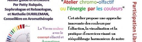 Dimanche 25 Janvier à 16 h Atelier chromo olfactif ou l'énergie par les couleurs.